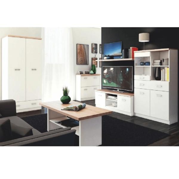 Comodă TV 2D, PAL melaminat, alb/stejar sonoma, TOPTY