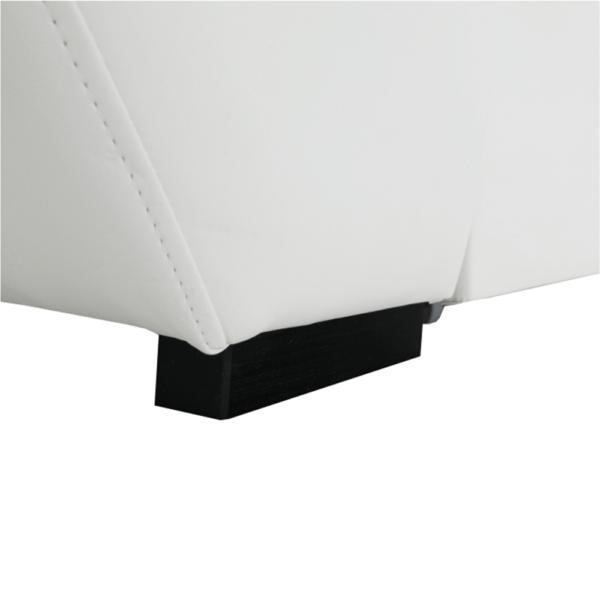 Colţar, piele eco albă/textil gri închis, stânga, AKRON