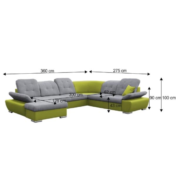 colţar, model U, verde/gri, de stânga, SILVER U 2