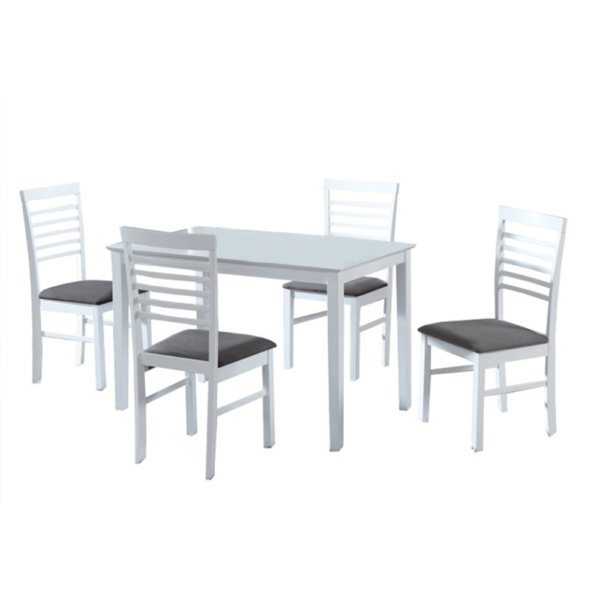 Set de bucătărie, MDF alb/textil gri, BRISBO 1+4