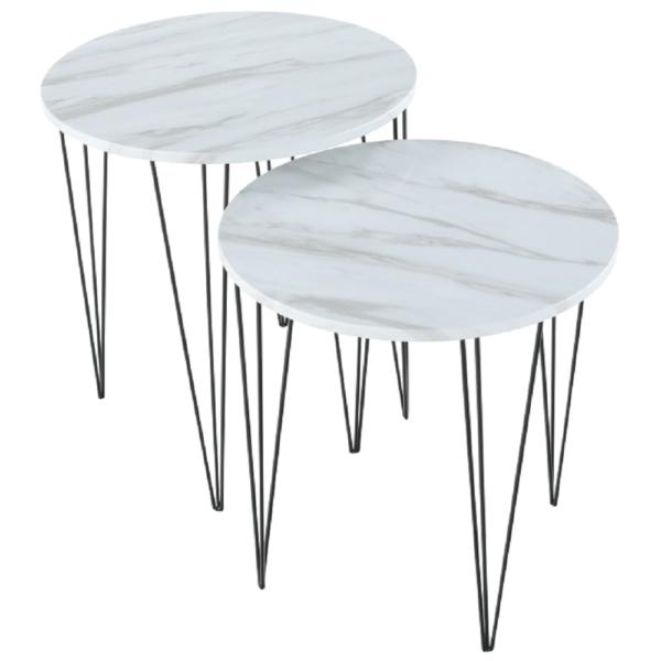 Set 2 măsuţe de cafea, model alb marmură/metal negru, PAROS