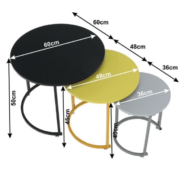Set de trei măsuţe auxiliare, gri/galben/negru, RONEL NEW