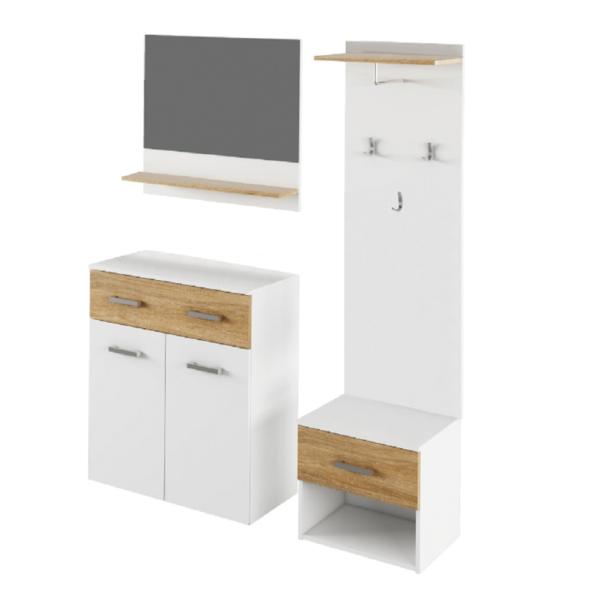 Set mobilă vestibul, alb/stejar sonoma, SIMA