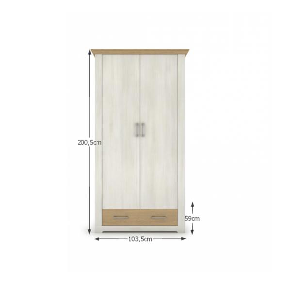 Dulap cu două uşi şi sertar, pin nordic/stejar piatră, ARMOND TYP 2