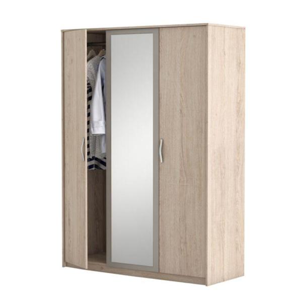 Dulap 3 uşi şi oglindă, stejar arizona/gri, GRAPHIC