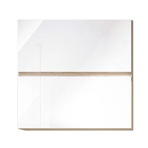 Dulap superior cu 2 uşi orizontale, alb super luciu HG, LINE ALB G60