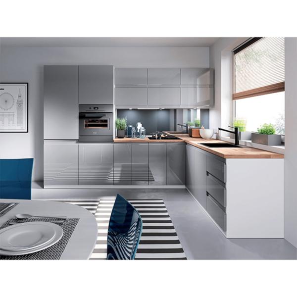 Dulap pentru frigider, alb/gri extra lucios, dreapta, AURORA D60ZL
