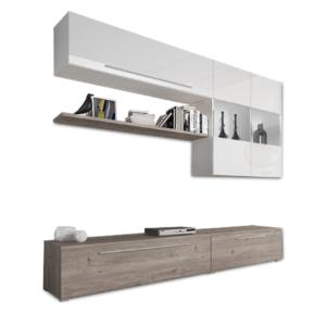 Dulap sufragerie, MDF/DTD laminat, stejar nelson/alb HG, SOFI