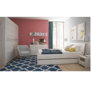 Ansamblu dormitor (dulap, pat 160x200, 2 x noptieră), alb craft, ANGEL