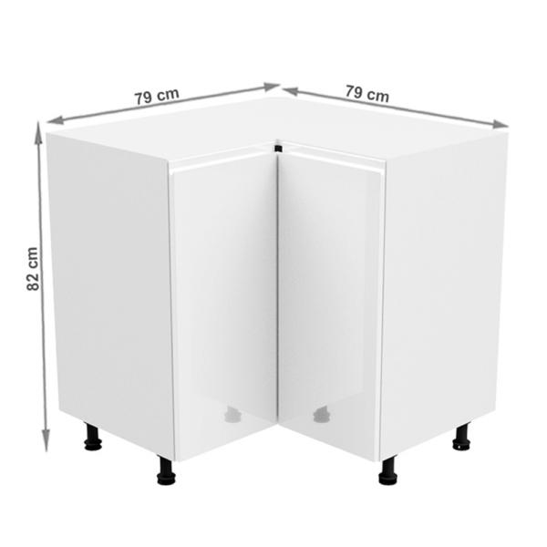 Dulap inferior colţ, alb/alb extra luciu ridicat, AURORA D90N