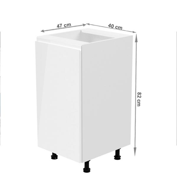 Dulap inferior, alb/alb extra luciu ridicat, de stânga, AURORA D41