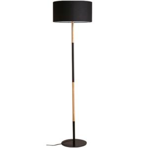 Lampă pe picior, aluminiu negru/model lemn, CINDA TYP 21 YF6046