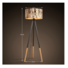 Lampă pe picior, metal negru/material, CINDA TYP 6 YF6253