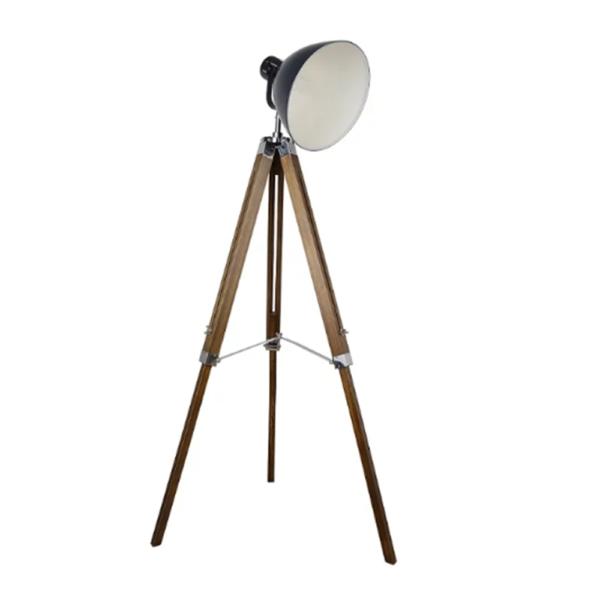Lampă de podea,metal gri închis/lemn, CINDA TYP 27 YFY804-A