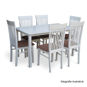 Masă dining, alb, 135 cm, ASTRO