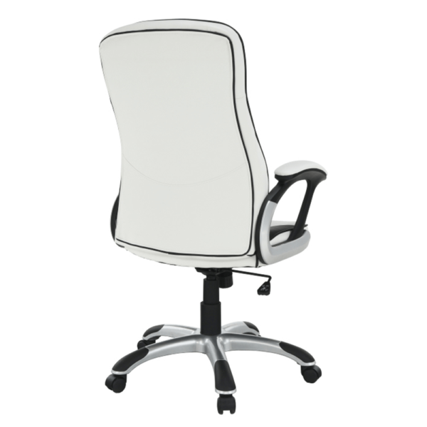 Fotoliu de birou, piele eco albă/neagră, AFRA