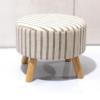 Taburet, material bej cu imprimeu/lemn, RONDA