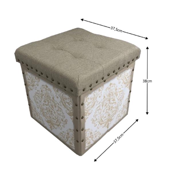 Taburet, material textil bej/alb, SAFIA