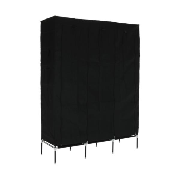 Organizator de garderobă, ţesătură / metal, negru, TARON VNW06