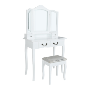 Măsuţă de toaletă cu taburet, alb/argintiu, REGINA NEW