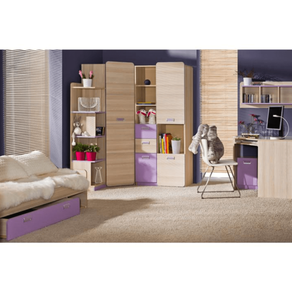 Pat, cu un pat suplimentar, frasin/violet, 200x80, EGO L16