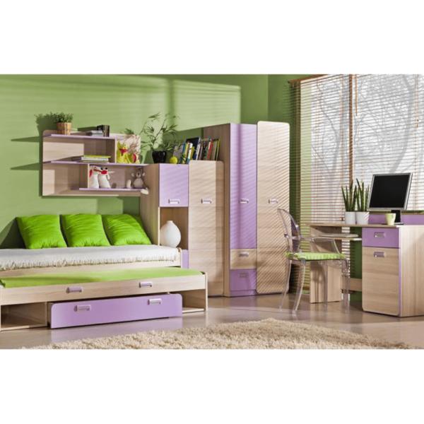 Masă PC, pe colţ, frasin/violet, EGO L11