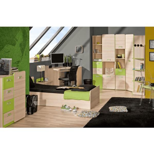 Masă PC pe colţ, frasin/verde, EGO L11