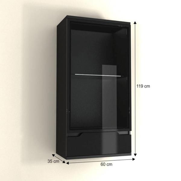 Vitrină suspendabilă, neagră/negru luciu extra ridicat, ADONIS AS 09