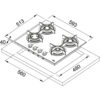 Plita incorporabila Franke Crystal FHCR 604 4G HE XA C 106.0496.075, Gaz, 4 arzatoare, Aprindere electrica integrata, Dispozitiv de siguranta, Gratare de fonta, Latime 59.3 cm, Inox satinat
