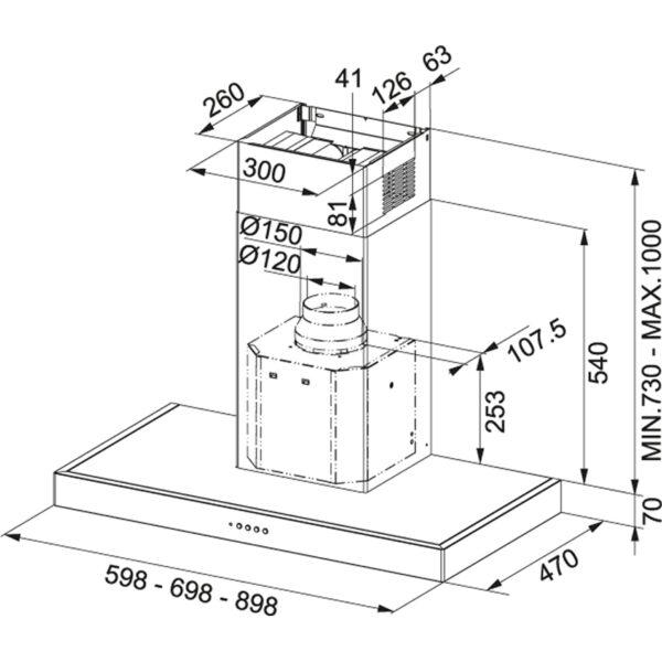 Hota Franke Format 70 FDF 9557 XS 110.0251.228, Semineu dreapta, Capacitate 630 m3/H (maxim, mod evacuare), 3 viteze+intensiv, Comanda Soft touch, Latime 90 cm, Inox Satinat