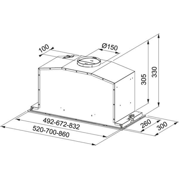 Hota incorporabila Franke Box Plus LED FBI 737 XS 110.0442.944, Tip caseta, Capacitate 690 m3/H (intensiv, mod evacuare), 3 viteze+intensiv, Comanda Soft touch, Latime 70 cm, Inox Satinat