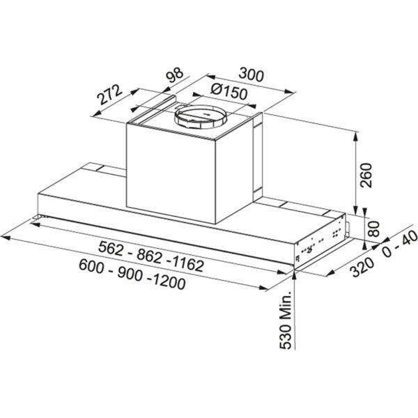 Hota incorporabila Franke Style Lux LED FSTP NG 1205 X 110.0473.547, Tip caseta, Capacitate 540 m3/H (maxim, mod evacuare), 3 viteze, Comanda buton rotativ, Latime 120 cm, Inox Satinat