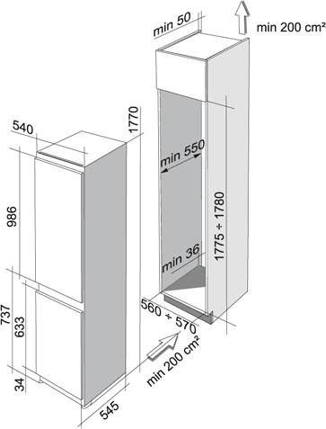 Frigider cu doua usi incorporabil Franke FCT 280/M SI A+ 118.0250.943, Clasa A+, 262 l, H 158 cm