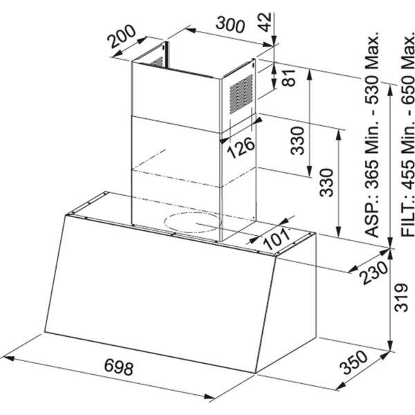 Hota Franke Trendline Plus 70 OY 321.0536.201, Decorativa perete, Capacitate 560 m3/H (maxim, mod evacuare), 3 viteze, Putere 270 W, Latime 70 cm, Oyster