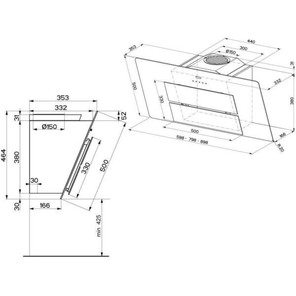 Hota Franke Maris FMA 607 WH 330.0507.748, Decorativa ecran, Capacitate 720 m3/H (intensiv, mod evacuare), 3 viteze+intensiv, Touch control, Functie oprire automata, Latime 60 cm, Sticla alba