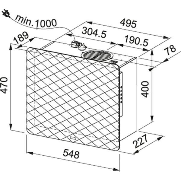 Hota Franke IMPRESS 603 GY 330.0530.195, Decorativa ecran, Capacitate 610 m3/H (intensiv, mod evacuare), 3 viteze+intensiv, Comanda butoane, Latime 54.8 cm, Matt Metallic Grey