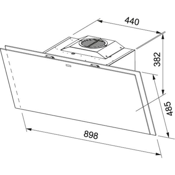 Hota Franke Crystal FCRV 908 BK 330.0536.839, Decorativa ecran, Capacitate 730 m3/H (intensiv, mod evacuare), 3 viteze+intensiv, Touch control, Functie oprire automata, Latime 90 cm, Negru