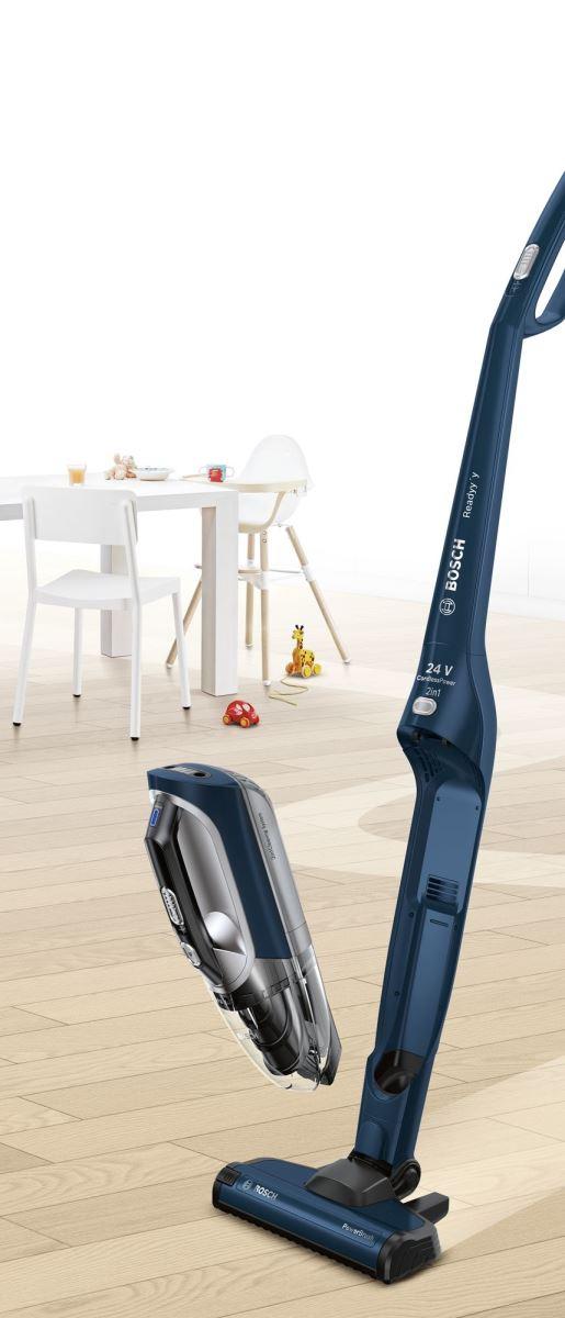 Aspirator vertical cu acumulatori 2-in-1 Bosch Readyy'y BBH22454, 24 V, 0.3 L, 50 min. autonomie, EasyClean, Royal blue metallic