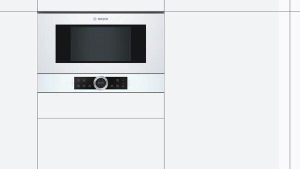 Cuptor cu microunde incorporabil Bosch BFL634GW1, 21 l, 900 W, AutoPilot7, Deschidere stanga, Inverter, sticla alba