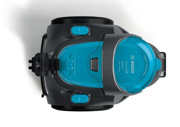 Aspirator fara sac Bosch BGS05X240, 700 W, Filtru PureAir, Perie multifuncţională cu role, Duza Mini TurboAir, Duză pentru tapiţerie, Turcoaz