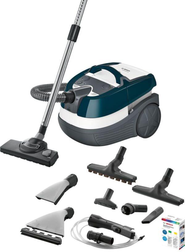 Aspirator Bosch BWD41720, Umed/uscat, 1700 W, 5 L/2.5 L, Filtru EPA lavabil, Perie parchet, Duze de spălare, Set de spălare, 2 accesorii, Turcoaz