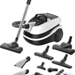 Aspirator Bosch cu spalare BWD421PRO, Umed/uscat, 2100 W, 5 L/2.5 L, Filtru HEPA lavabil, DualFiltration, Perie Turbo, Duze de spălare, Alb/Negru