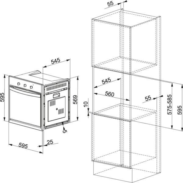 Cuptor incorporabil Franke Crystal CR 66 M WH , Electric, 59 l, 6 Programe, Alb