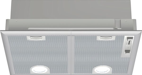 Hotă incorporabilă Bosch Serie 4 DHL555BL, Capacitate 618 m³/h (intensiv, mod evacuare), 3 viteze + intensiv, Control mecanic, Filtru metalic lavabil, 53 cm, Argintiu metalizat