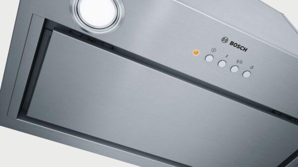 """Hotă incorporabilă Bosch DHL585B, 650 m³/h (intensiv, regim de evacuare), 3 viteze + Intensiv, RimVentilation, Taste """"push-button"""", Inox"""