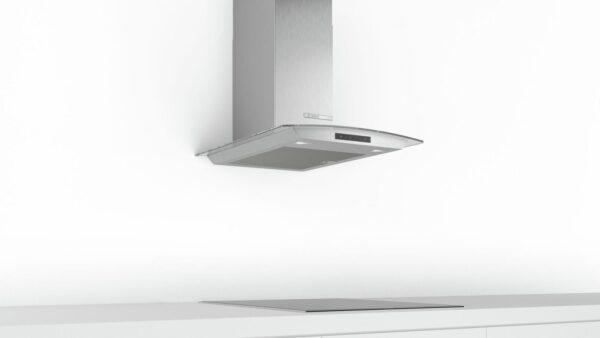 Hota Bosch Serie 4 DWA66DM50, Semineu arcada, 60 cm, max 600 m3/h, TouchControl si afisaj electronic, 3 trepte de putere + Intensiv, Inox + sticla
