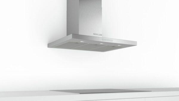 Hotă semineu dreaptă Bosch Serie 6 DWB97CM50, Capacitate 721 m³/h (intensiv, mod evacuare), 3 viteze + intensiv, TouchControl, Filtru metalic lavabil, 90 cm, Inox