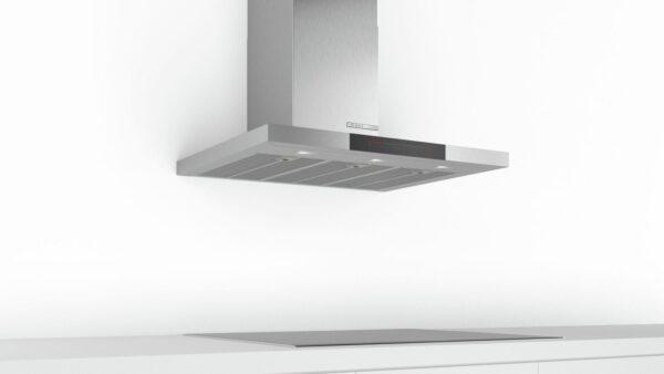 Hotă semineu dreaptă Bosch Serie 6 DWB98JQ50, Capacitate 843 m³/h (intensiv, mod evacuare), 3 viteze + 2 intensiv, TouchControl, Senzor pentru calitatea aerului, Funcţie DimmLight, 90 cm, Inox