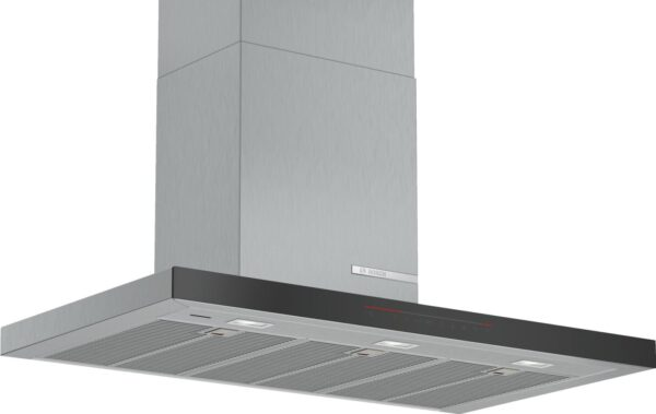 Hotă semineu dreaptă Bosch Serie 6 DWB98PR50, Capacitate 843 m³/h (intensiv), 3 viteze + 2 intensiv, TouchControl, Filtru metalic lavabil, Indicator filtru, 90 cm, Inox