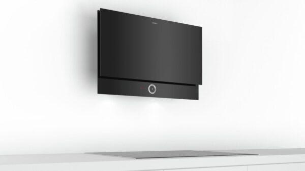 Hota Bosch DWF97RV60, Absorbtie periferica, 730 mc/h, 90 cm, TouchControl, PowerBoost, HomeConnect, Sticla neagra